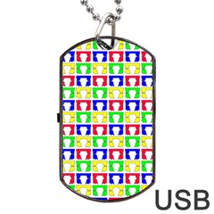 Colorful Curtains Seamless Pattern Dog Tag USB Flash (Two Sides)