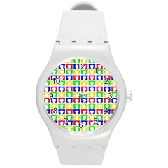 Colorful Curtains Seamless Pattern Round Plastic Sport Watch (m)