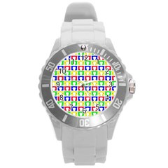Colorful Curtains Seamless Pattern Round Plastic Sport Watch (l)
