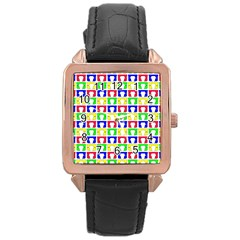 Colorful Curtains Seamless Pattern Rose Gold Leather Watch