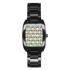 Colorful Curtains Seamless Pattern Stainless Steel Barrel Watch