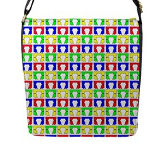 Colorful Curtains Seamless Pattern Flap Messenger Bag (l)