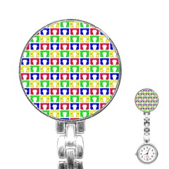 Colorful Curtains Seamless Pattern Stainless Steel Nurses Watch