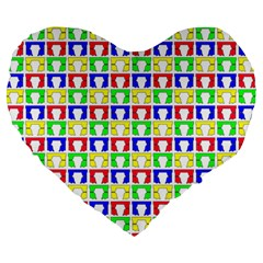 Colorful Curtains Seamless Pattern Large 19  Premium Flano Heart Shape Cushions
