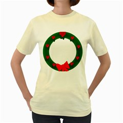 Holiday Wreath Women s Yellow T-Shirt