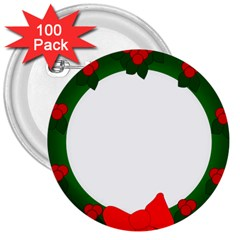 Holiday Wreath 3  Buttons (100 Pack)