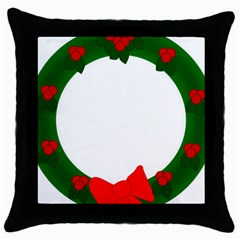 Holiday Wreath Throw Pillow Case (black)