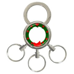 Holiday Wreath 3 Ring Key Chains