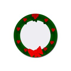 Holiday Wreath Rubber Coaster (round)