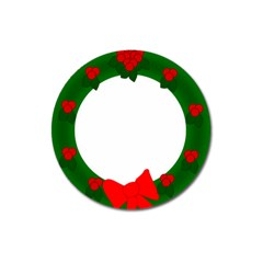 Holiday Wreath Magnet 3  (round)