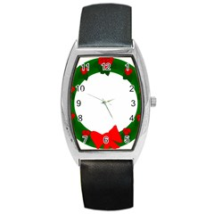 Holiday Wreath Barrel Style Metal Watch