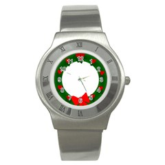 Holiday Wreath Stainless Steel Watch