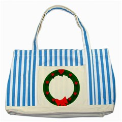 Holiday Wreath Striped Blue Tote Bag