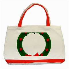 Holiday Wreath Classic Tote Bag (red)