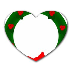 Holiday Wreath Heart Mousepads