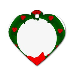 Holiday Wreath Dog Tag Heart (one Side)