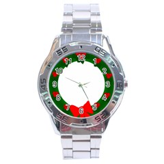 Holiday Wreath Stainless Steel Analogue Watch
