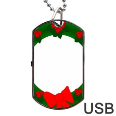 Holiday Wreath Dog Tag USB Flash (Two Sides)