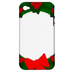 Holiday Wreath Apple Iphone 4/4s Hardshell Case (pc+silicone)