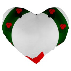 Holiday Wreath Large 19  Premium Heart Shape Cushions