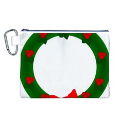 Holiday Wreath Canvas Cosmetic Bag (l)