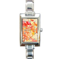 Monotype Art Pattern Leaves Colored Autumn Rectangle Italian Charm Watch