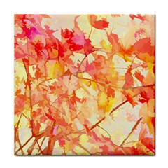 Monotype Art Pattern Leaves Colored Autumn Tile Coasters