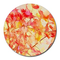 Monotype Art Pattern Leaves Colored Autumn Round Mousepads