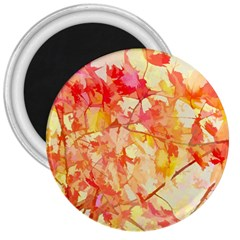 Monotype Art Pattern Leaves Colored Autumn 3  Magnets