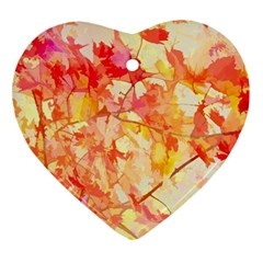 Monotype Art Pattern Leaves Colored Autumn Ornament (heart)