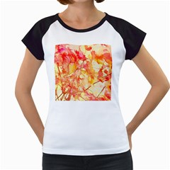 Monotype Art Pattern Leaves Colored Autumn Women s Cap Sleeve T