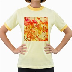Monotype Art Pattern Leaves Colored Autumn Women s Fitted Ringer T Shirts