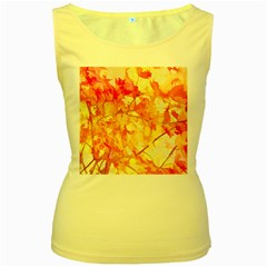 Monotype Art Pattern Leaves Colored Autumn Women s Yellow Tank Top