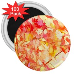 Monotype Art Pattern Leaves Colored Autumn 3  Magnets (100 Pack)