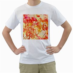 Monotype Art Pattern Leaves Colored Autumn Men s T Shirt (white) (two Sided)