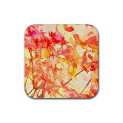 Monotype Art Pattern Leaves Colored Autumn Rubber Square Coaster (4 Pack)