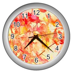 Monotype Art Pattern Leaves Colored Autumn Wall Clocks (silver)