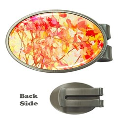 Monotype Art Pattern Leaves Colored Autumn Money Clips (oval)