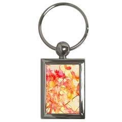 Monotype Art Pattern Leaves Colored Autumn Key Chains (Rectangle)