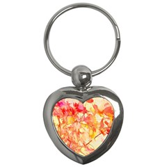 Monotype Art Pattern Leaves Colored Autumn Key Chains (heart)