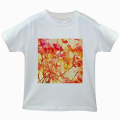 Monotype Art Pattern Leaves Colored Autumn Kids White T Shirts