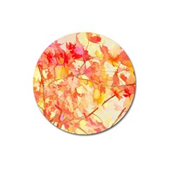 Monotype Art Pattern Leaves Colored Autumn Magnet 3  (round)