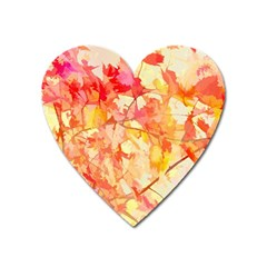 Monotype Art Pattern Leaves Colored Autumn Heart Magnet