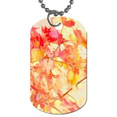 Monotype Art Pattern Leaves Colored Autumn Dog Tag (two Sides)