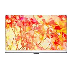 Monotype Art Pattern Leaves Colored Autumn Business Card Holders
