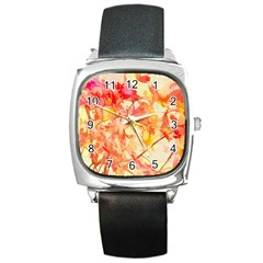 Monotype Art Pattern Leaves Colored Autumn Square Metal Watch