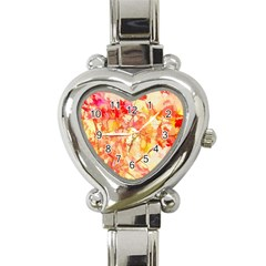 Monotype Art Pattern Leaves Colored Autumn Heart Italian Charm Watch