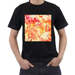 Monotype Art Pattern Leaves Colored Autumn Men s T Shirt (black) (two Sided)