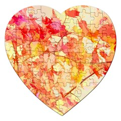 Monotype Art Pattern Leaves Colored Autumn Jigsaw Puzzle (heart)