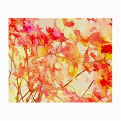 Monotype Art Pattern Leaves Colored Autumn Small Glasses Cloth